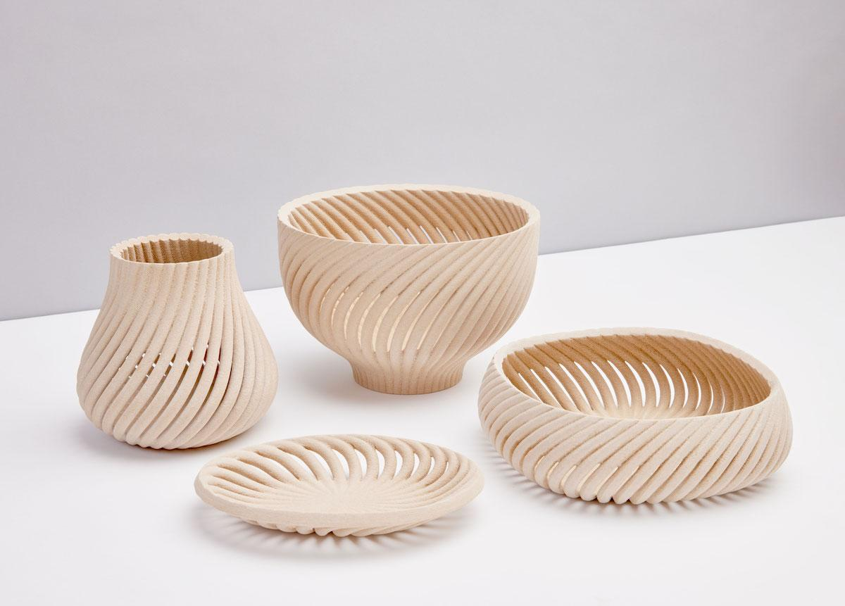 3D-printed wood bowls by Forust