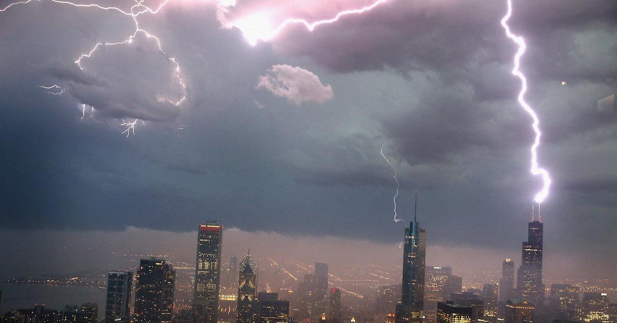 Lightning hits a building